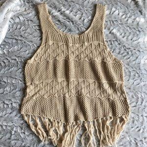 🆕 Women beige knit tank top Large